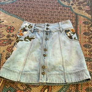 Free people denim embroidered skirt